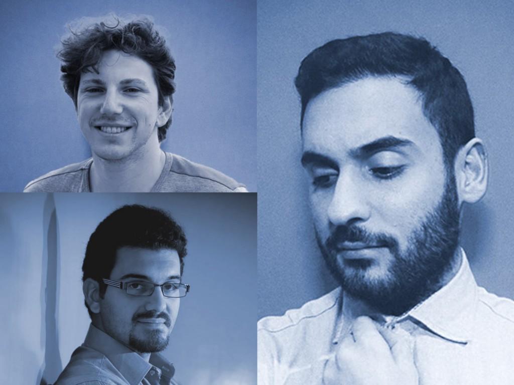 Da sinistra: in alto Paolo Serio, in basso Enrico Capano e a destra Fabiano Maria Rotondo