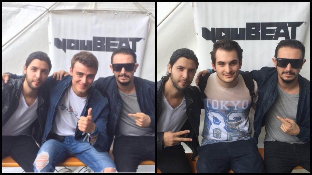 A sinistra il fondatore di youBEAT Matteo Villa; a destra Valerio Pennati con Simon De Jano & Madwill