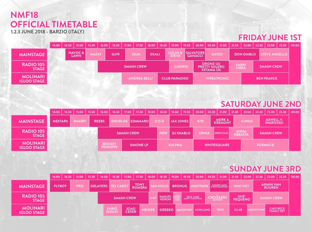Nameless Music Festival 2018 - Timetable