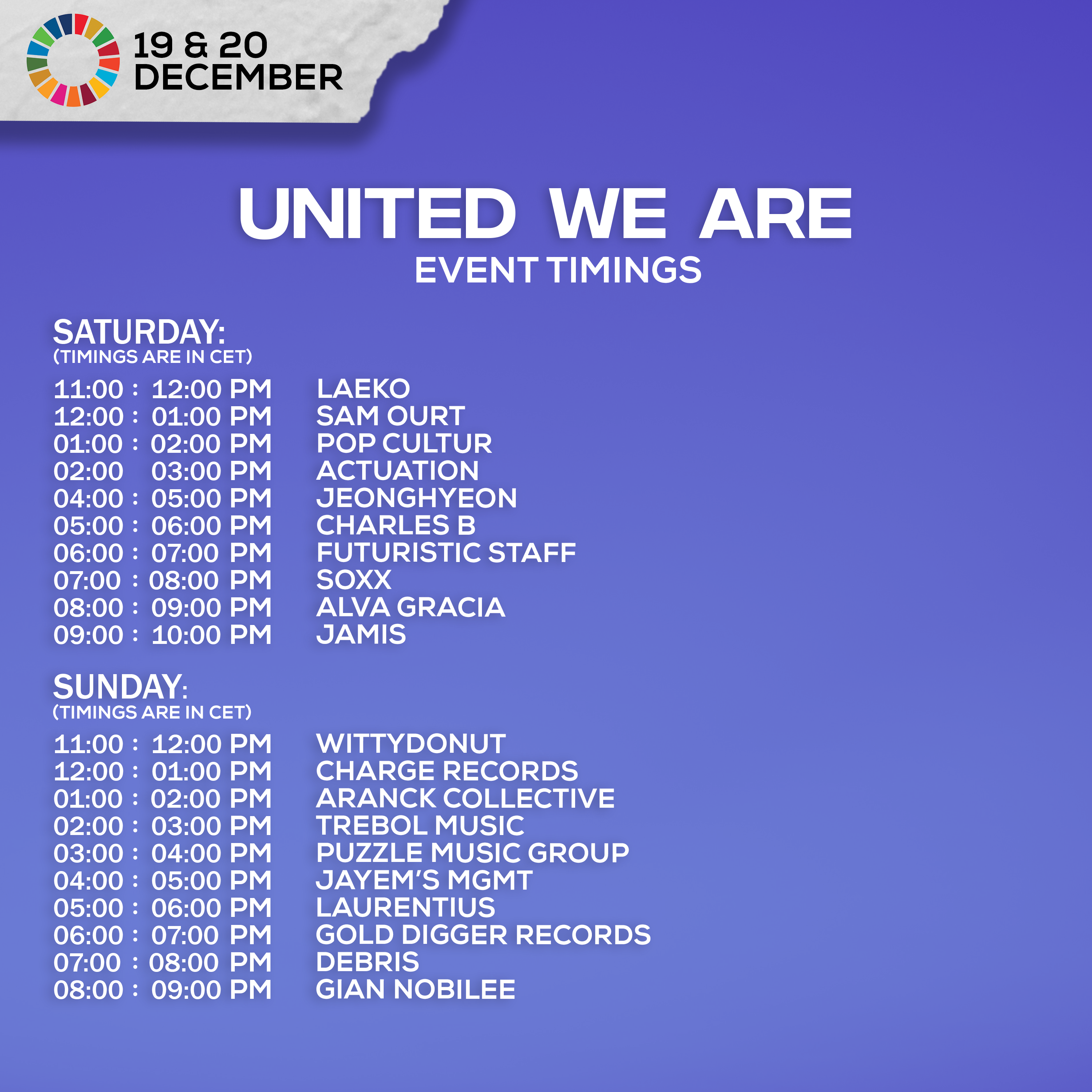 Timetable United We Are